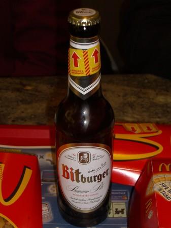 Bitburger mit Aufkleber